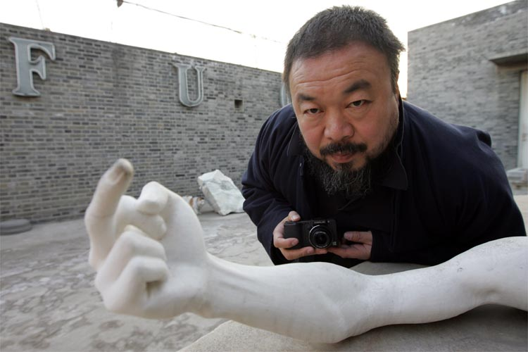 Michael Schindhelm, cultural director for The Executive office of the Government of Dubai,speaks wIth Ai Wei Wei, chinese artist, at his home in Beijing, China, Saturday, December 14th, 2007.